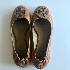 100% Authentic Tory Burch Brown Leather Flats